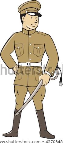 Dünya savaş bir asker karikatür ayarlamak Stok fotoğraf © patrimonio
