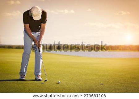 Masculino jogador de golfe pôr do sol verde belo golfe Foto stock © lichtmeister