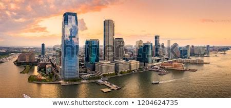 New Jersey skyline zonsondergang gebouw silhouet USA Stockfoto © vichie81