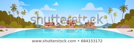 Foto stock: Vista · arena · isla · tropical · playa · mar