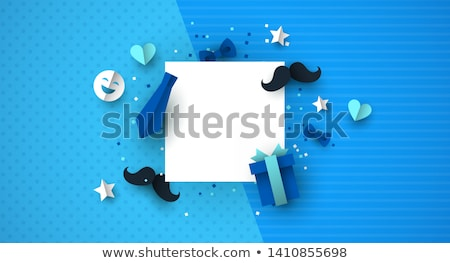 Fathers Day paper cut icon template background Stock photo © cienpies