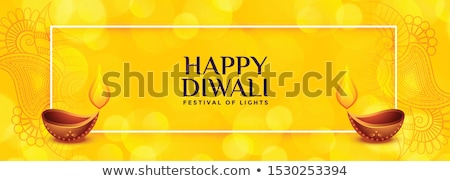 yellow diwali banner with two diya design Stock photo © SArts