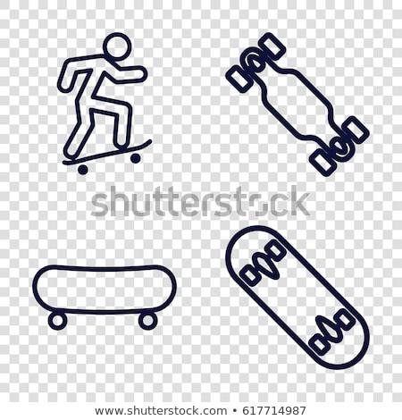 skateboard · icon · vector · schets · illustratie · teken - stockfoto © pikepicture