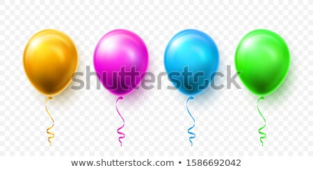 Realistic blue, green, pink and gold balloons with shadow. Shine helium balloon for wedding, Birthda Stock photo © olehsvetiukha