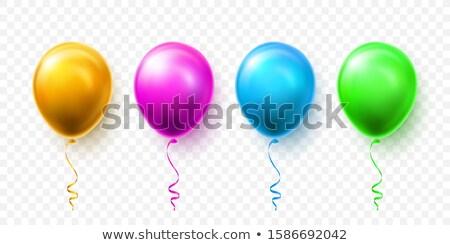 Realistyczny niebieski zielone różowy złota balony Zdjęcia stock © olehsvetiukha