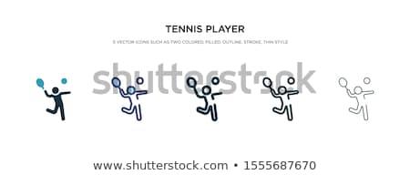 Tennisspeler icon vector schets illustratie teken Stockfoto © pikepicture