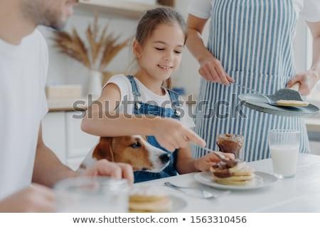 Küçük çocuk baba köpek oturmak birlikte Stok fotoğraf © vkstudio