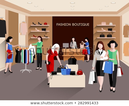 Shopaholic Woman Buying Dress in Store Vector Stock photo © robuart
