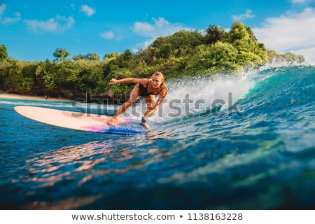 Portrait of Surfer with longboard Stock photo © antonio_gravante