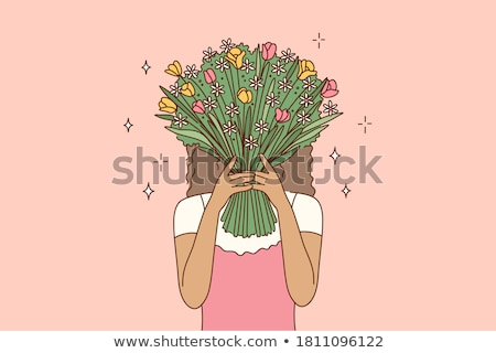 young woman or teenage girl with flower bouquet Stock photo © dolgachov