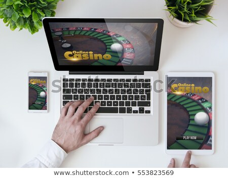 Casino Online, Computer and Laptop with Cards Set Stock photo © robuart