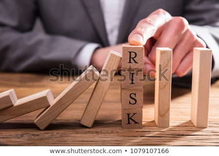 Vinger vallen domino effect houten Stockfoto © AndreyPopov