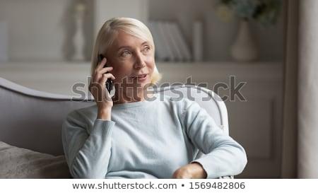 Emberek technológia életstílus pozitív kaukázusi nő Stock fotó © vkstudio