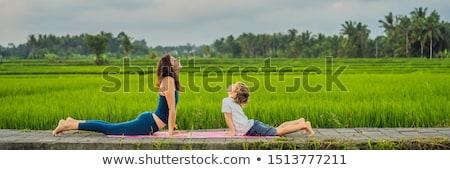 Jongen yoga leraar rijstveld gras gelukkig Stockfoto © galitskaya