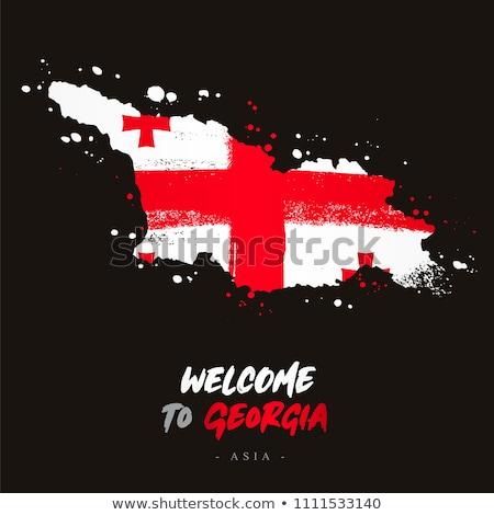 Gruzja banderą strony biały świat tle Zdjęcia stock © butenkow