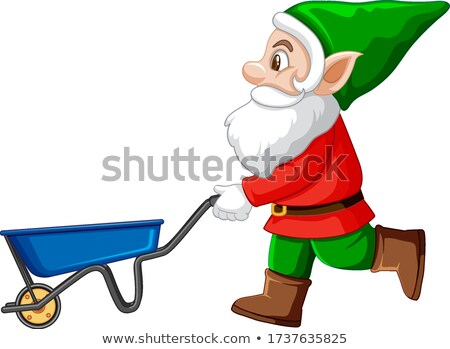 Gnome with blue haul cart cartoon character on white background Stock photo © bluering