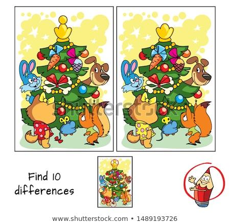 Diferencias educativo juego cómico gatos perros Foto stock © izakowski
