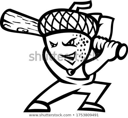 ドングリ オーク ナット 野球選手 マスコット 黒白 ストックフォト © patrimonio