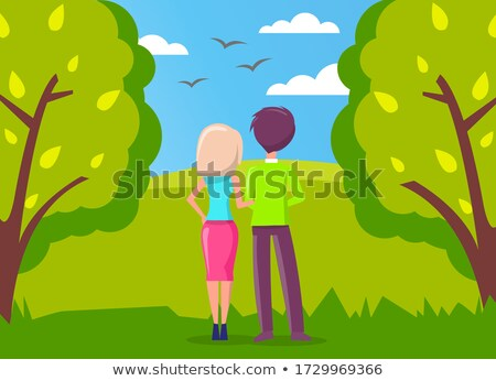 Man and woman, couple in love walking in city park and looking far away at birds vector illustration Stock photo © robuart