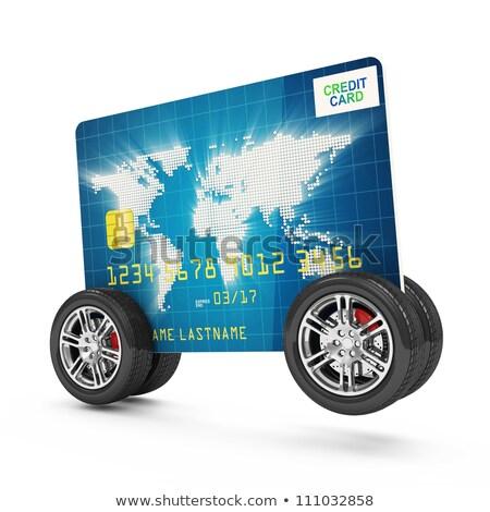 кредитных карт Колеса изолированный белый автомобилей дизайна Сток-фото © digitalstorm