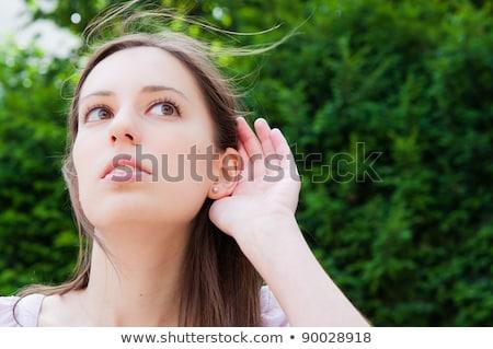 Dinleme müjde kadın şehir genç kadın Stok fotoğraf © ilolab