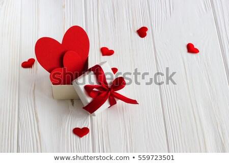 vermelho · coração · dentro · fofo · feito · à · mão - foto stock © borna_mir