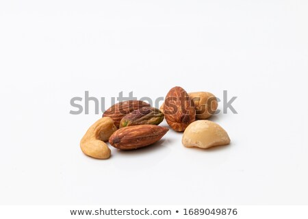 4 types of Fruit in wooden bowl isolated on white background. Stock photo © latent