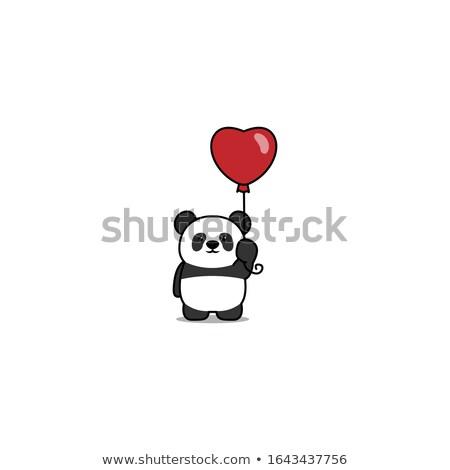 Panda сердце иллюстрация Cute несут красный Сток-фото © BarbaRie