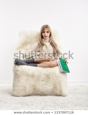 Szőke nő szőrös fotel portré gyönyörű ül Stock fotó © zastavkin