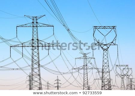 силуэта высокое напряжение башни небе город металл Сток-фото © nuttakit