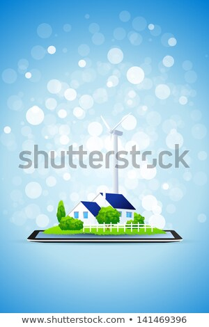 Country House and Power Station on Tablet Computer Stock photo © WaD