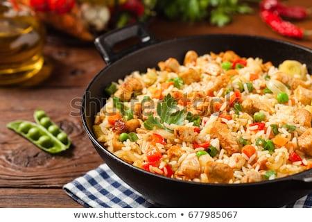 китайский жареный риса куриные продовольствие окна Сток-фото © ildi