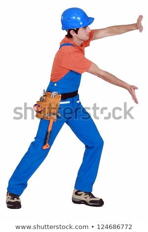 Kereskedő toló láthatatlan fal férfi építkezés Stock fotó © photography33