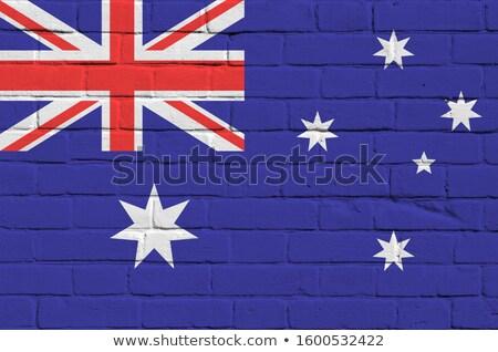 フラグ · オーストラリア · レンガの壁 · 描いた · グランジ · テクスチャ - ストックフォト © creisinger