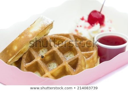 fresh tasty waffer with powder sugar and mixed fruits stock photo © juniart