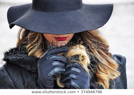 женщину тайна красивой сексуальная женщина мягкая фетровая шляпа Сток-фото © lisafx
