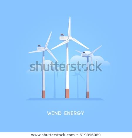 большой ветровой турбины деревья Blue Sky глубокий Сток-фото © brianguest