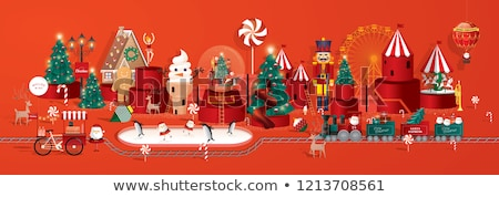 christmas decorations and toy red train stock photo © tannjuska