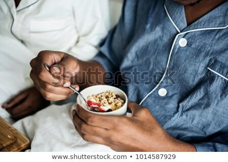 красивый · молодым · человеком · завтрак · чтение · газета · сидят - Сток-фото © photography33