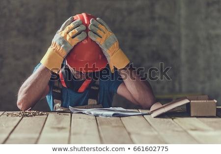 construtor · foto · plano · casa · papel · edifício - foto stock © photography33