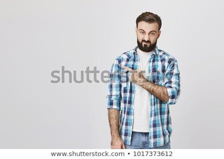 Walgelijk gebaar man ogen mannen zwart en wit Stockfoto © silent47