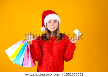 close portrait of preety girl santa claus stock photo © carlodapino