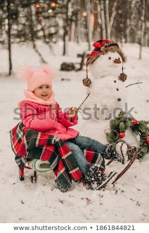 kislány · fogfájás · rózsaszín · fehér · szőr · tél - stock fotó © juniart
