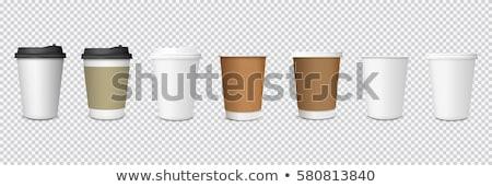 Papieru kubki do kawy biały kubek plastikowe pojemnik Zdjęcia stock © kornienko
