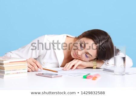 Yorgun öğrenci gün beyaz kitap Stok fotoğraf © wavebreak_media
