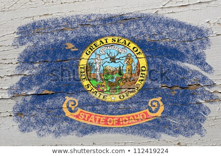 Flag Of Us State Of Idaho On Grunge Wooden Texture Precise Paint Foto stock © vepar5