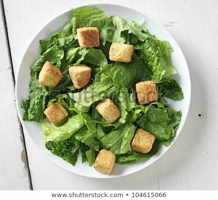 salada · césar · tiro · topo · para · baixo · ver · restaurante - foto stock © hojo
