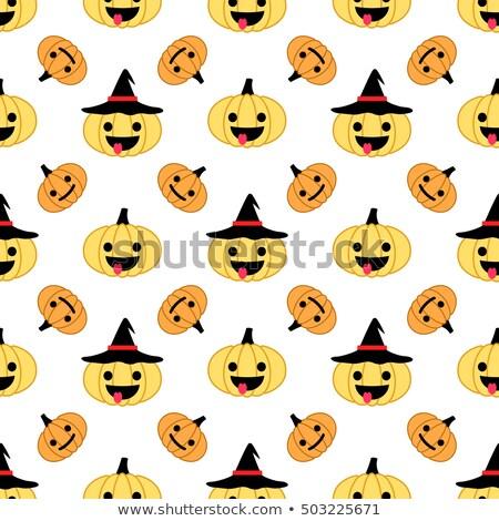 Cartoon character teasing the big Halloween pumpkin Stock photo © milsiart