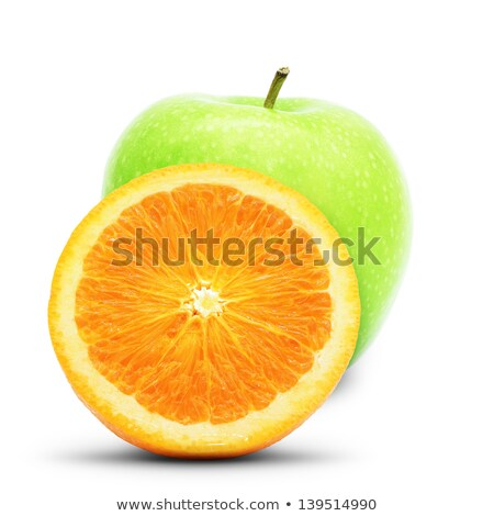 green apple and orange large depth of field isolated on white stock photo © moses
