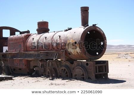 Oude roestige trein locomotief Stockfoto © njnightsky